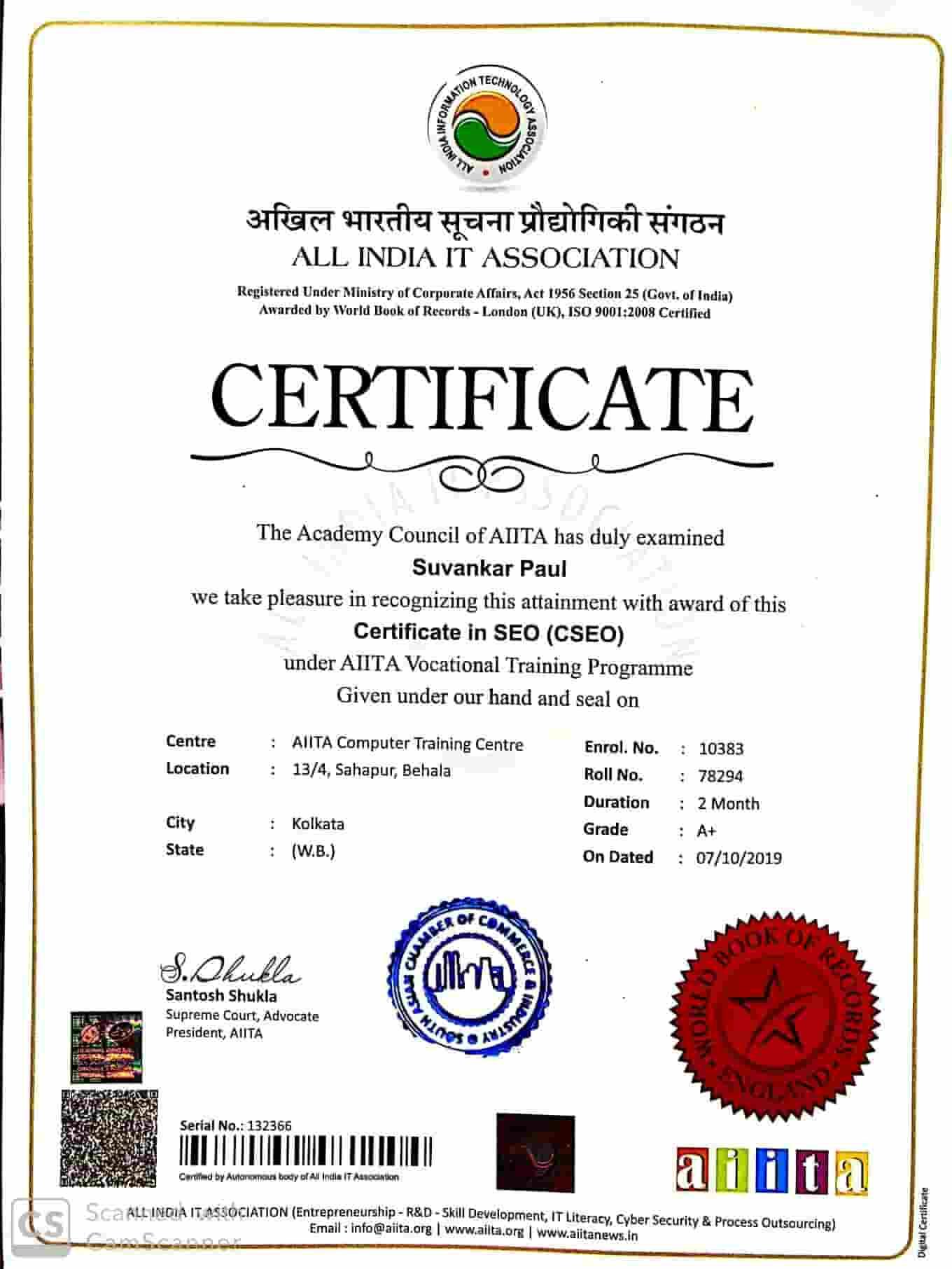 Certificate in SEO