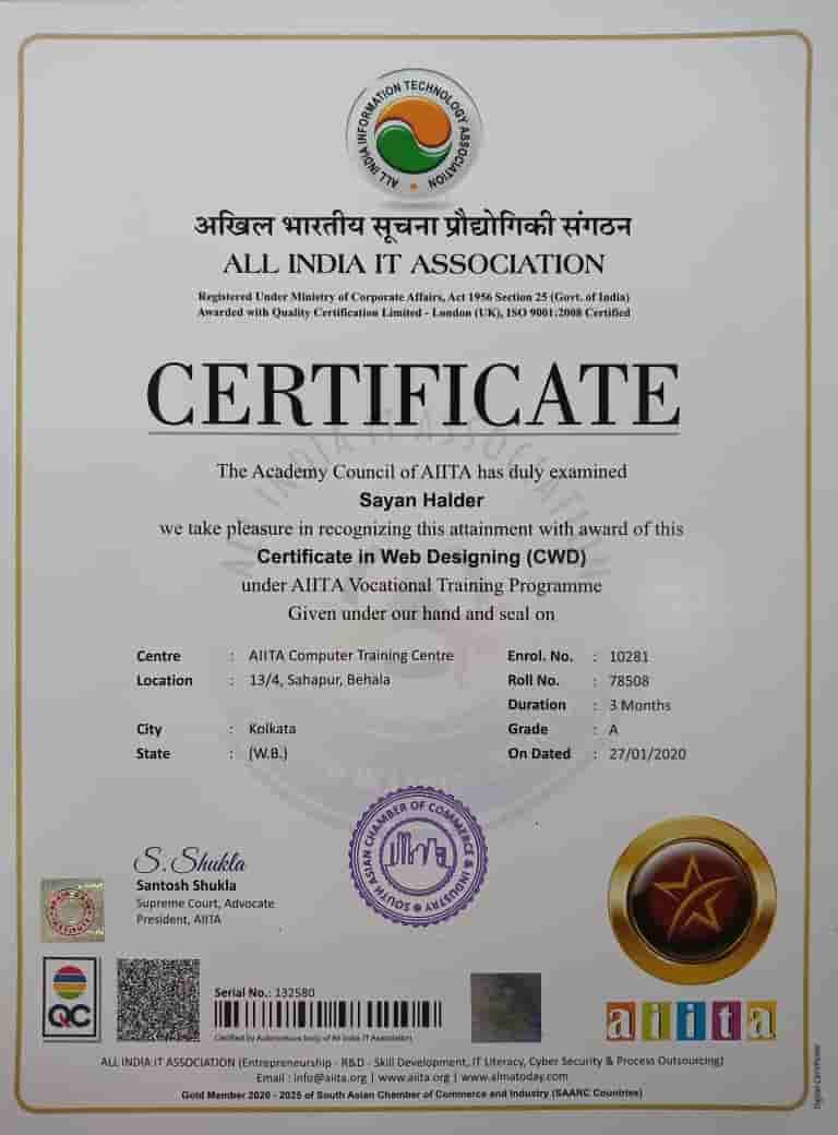 Certificate in Web Designer [CWD]